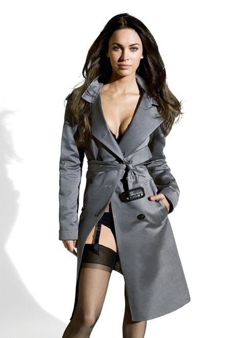 Megan Fox coat stockings lingerie
