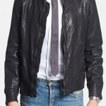 Diesel 'L-Ajuga' Leather Bomber Jacket