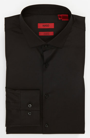 Hugo Slim Fit Black Cotton Dress Shirt