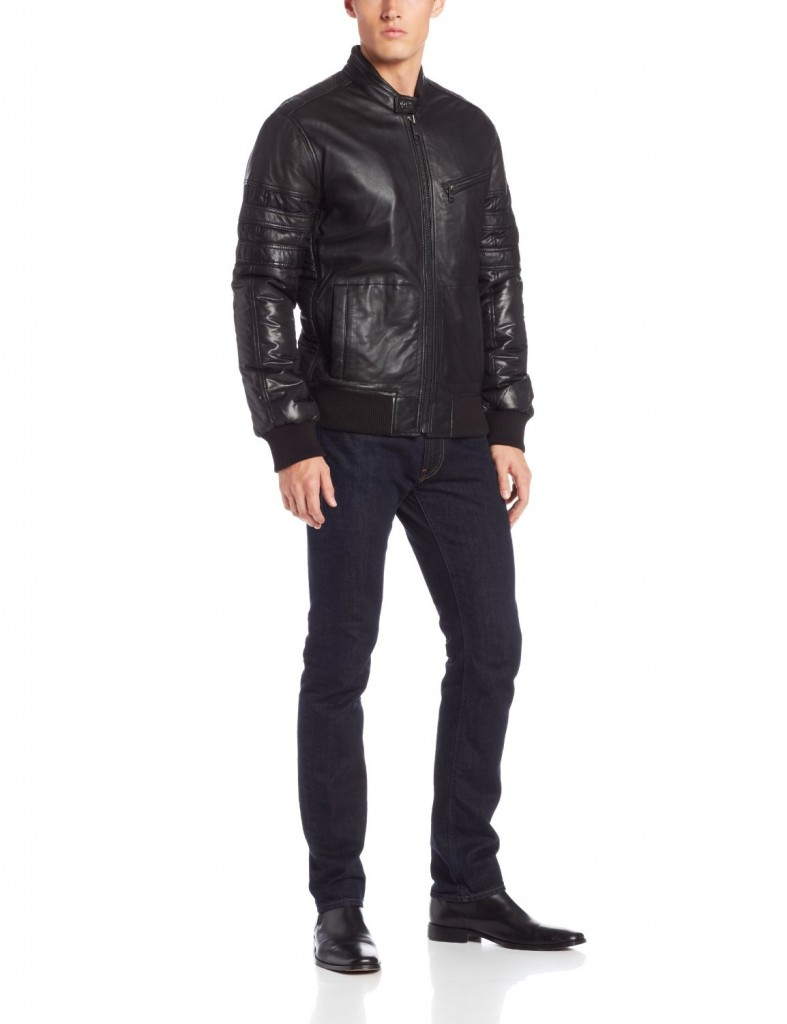 Marc New York by Andrew Marc Men's Boston Rugged Lambskin Leather Moto