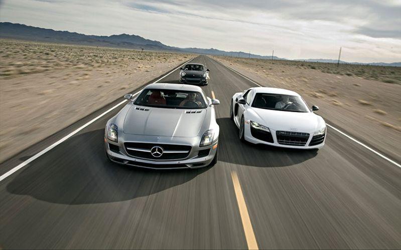 SLS AMG vs R8 V10 vs 911 Turbo