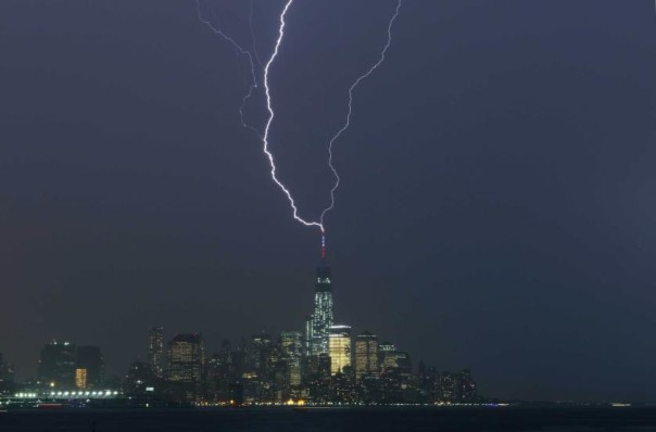 Two bolts of lightning hit the antenna on One World Trade Center
