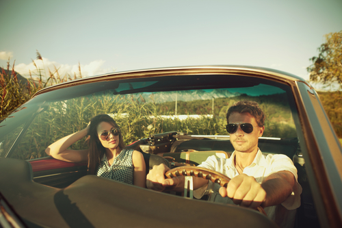 Couple taking a road trip