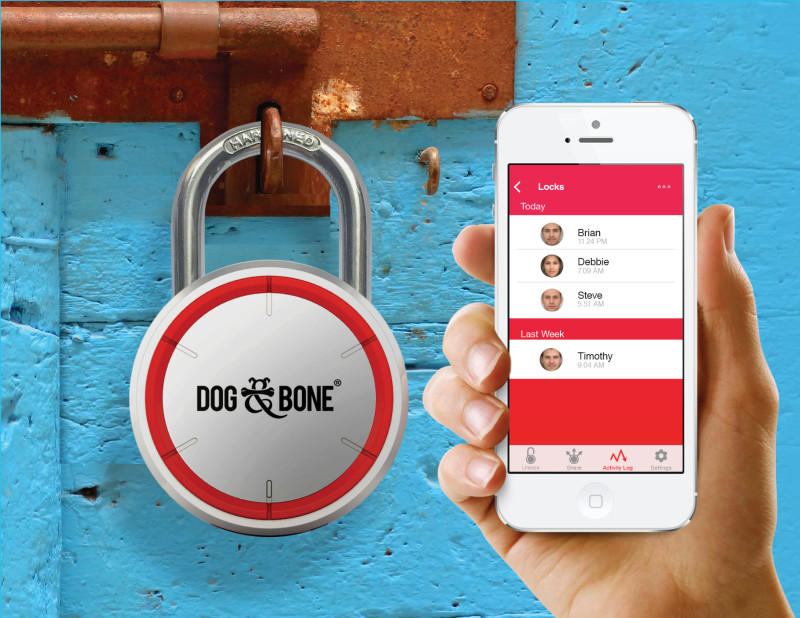 LockSmart padlock on blue gate with app
