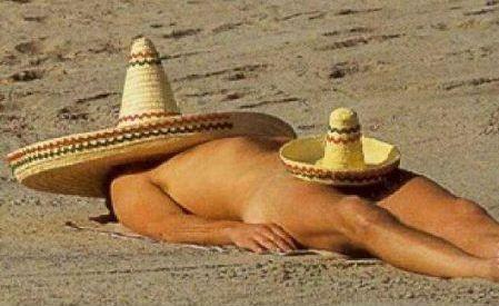 guy suntanning sombrero
