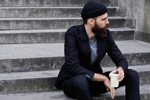man beard suit