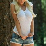 hot blonde country girl pigtails and shorts