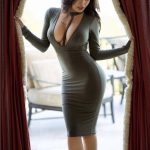 hot brunette tight dress