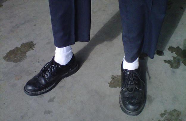white socks dark shoes