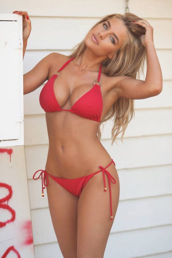Beach Rose Red Bikini Top